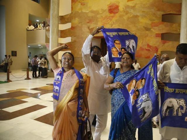 ruckus in MP assembly,BSP MLAs protest,Mayawati