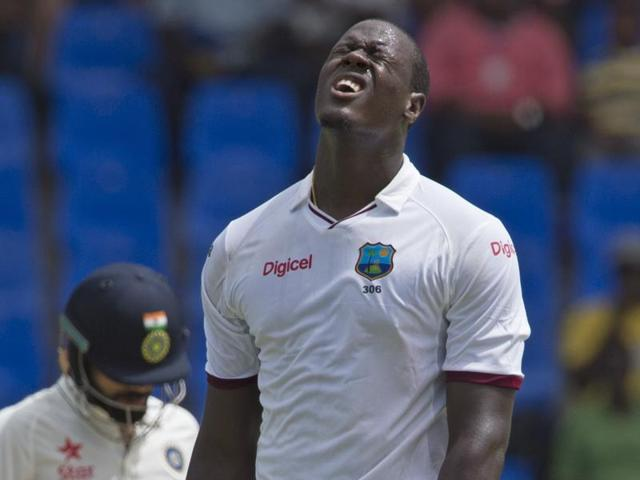 Devendra Bishoo (right), with three wickets, was the best of West Indies bowlers.