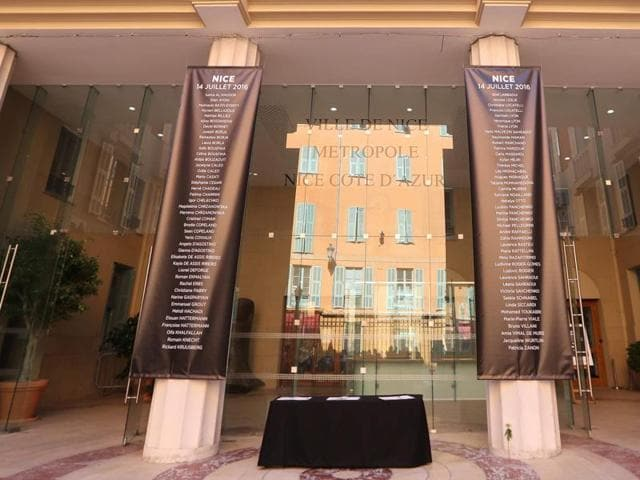 The names of all the victims of the recent truck attack, placed at the entrance of the city hall in Nice.