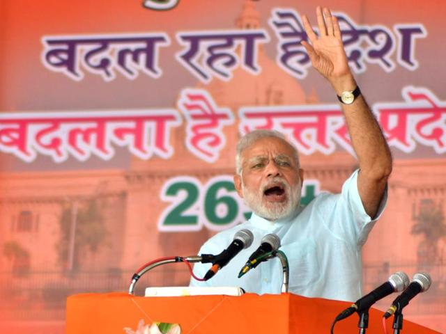 Prime Minister Narendra Modi speaks in Gorakhpur where he inaugurated work to construct a hospital and a fertiliser plant.