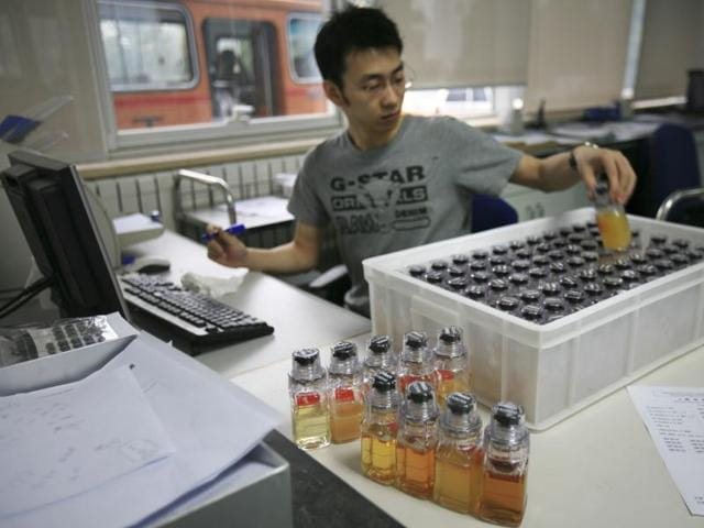 A file photo of urine samples from Chinese athletes being recorded upon arriving at China Anti-Doping Agency.