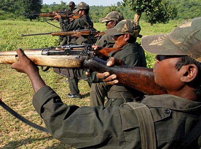 Maoist rebels train in a forest area in Bihar's Gaya district.