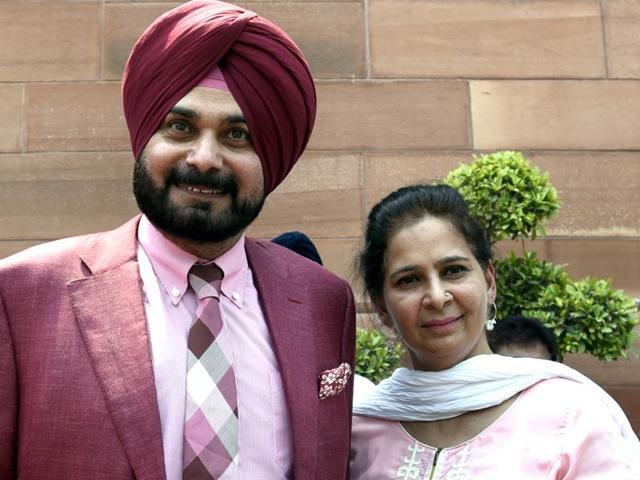 Cricketer-turned-politician Navjot Singh Sidhu with his wife Punjab chief parliamentary secretary Dr Navjot Kaur Sidhu
