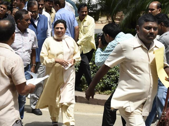 BSP supremo Mayawati with her party leaders during the monsoon session of Parliament on Thursday.