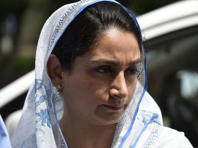 Harsimrat Kaur Badal seen outside Parliament during the monsoon session in New Delhi.