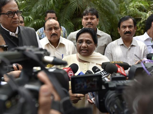 BSP chief Mayawati talks to the media after the monsoon session of Parliament in New Delhi.