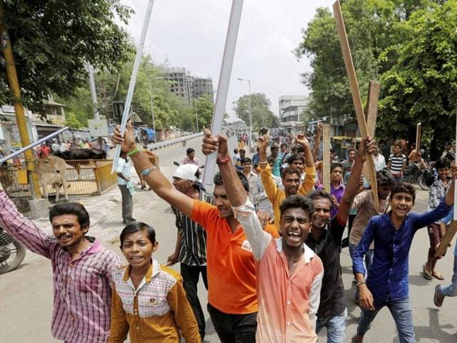Dalit community members protesting in Ahmedabad on July 20, 2016, after four men belonging to the community were beaten up while trying to skin a dead cow in Una town in Gujarat last week.