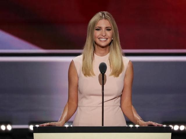 Ivanka Trump delivers a speech during the evening session on the fourth day of the Republican National Convention.