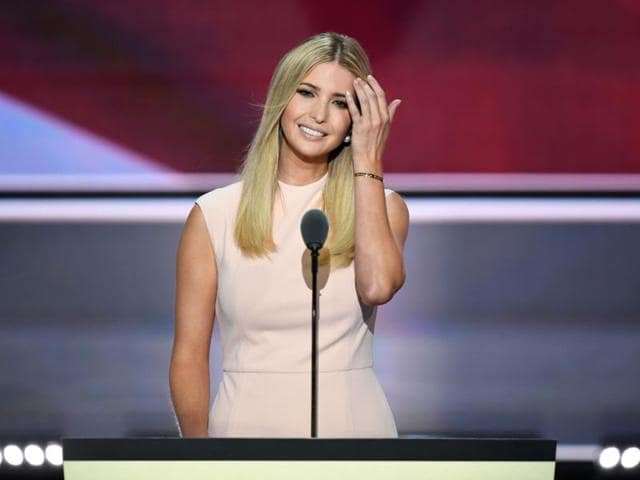 Ivanka Trump smiles before delivering a speech on the final night of the Republican National Convention at the Quicken Loans Arena in Cleveland, Ohio.