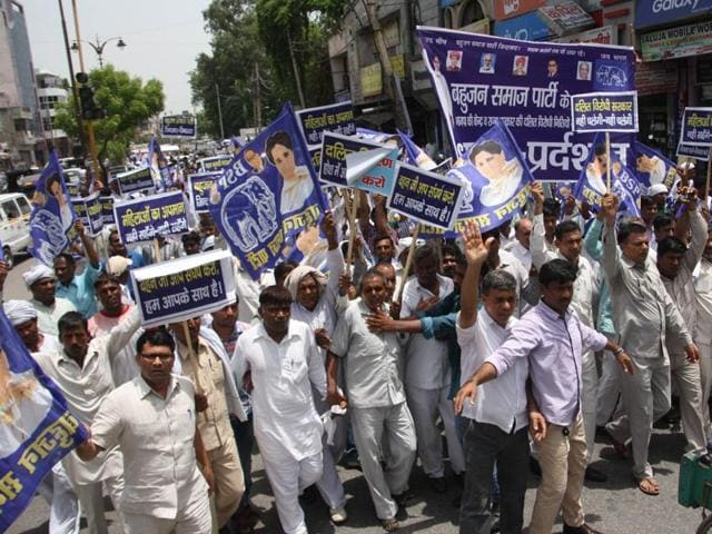 Dalit bodies taking out a protest march against the alleged repeated attacks on Dalits in Haryana, Gujarat and Uttar Pradesh, in Rohtak on Wednesday.