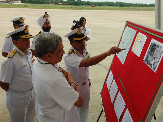 Defence minister Manohar Parrikar arrived at Chennai's Tambaram airforce base on Saturday morning from where search and rescue operations for the missing  IAF plane are being conducted.