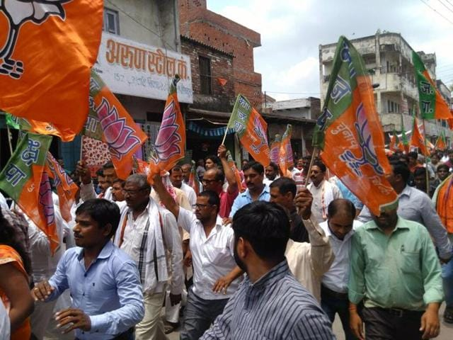 The BJP hit the streets in Lucknow and with the slogan – 'Beti ke samman mein, Bhajapa maidan mein'.