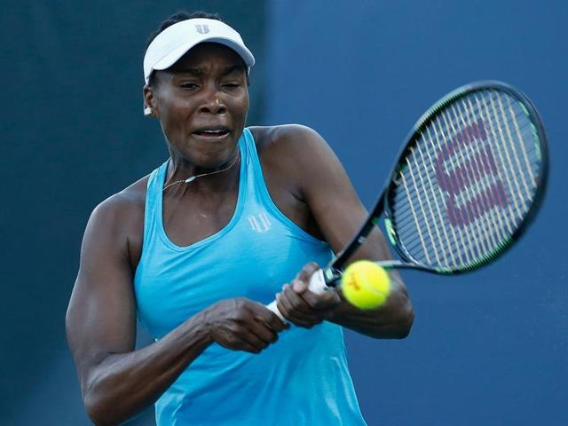 Venus Williams of the United States competes against Catherine Bellis of the United States.
