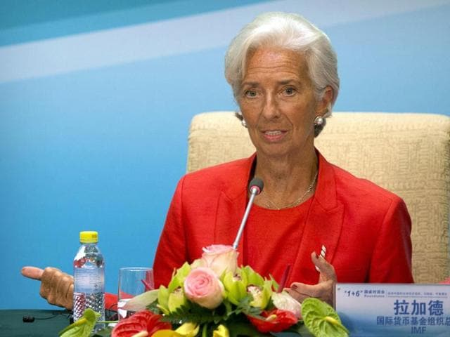International Monetary Fund (IMF) Managing Director Christine Lagarde during a press conference in Beijing, Friday.