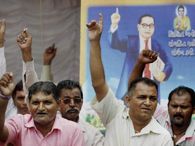 Dalit community members during a protest in Ahmedabad against the recent attack on Dalit members at Una, Rajkot.(PTI Photo)