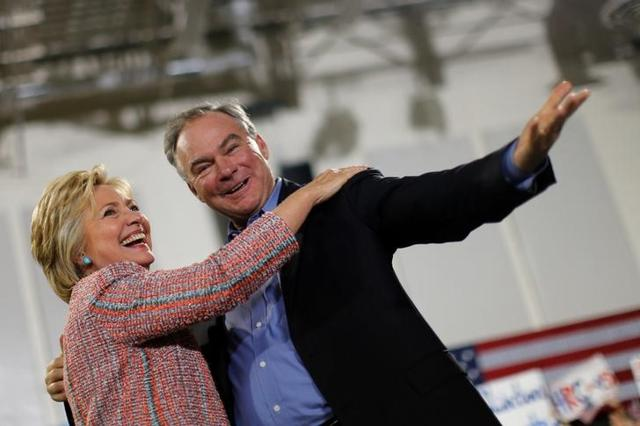 Democratic US presidential candidate Hillary Clinton and US Senator Tim Kaine  at a campaign rally in Miami
