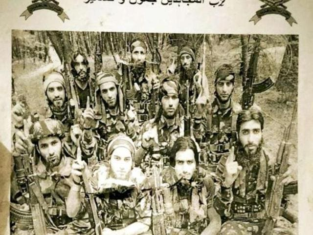 A poster carrying a photo of 11 militants dressed in combat gear and holding AK-47s was recently uploaded on the website of local daily Kashmir Reader after the death of Hizb commander Burhan Wani.
