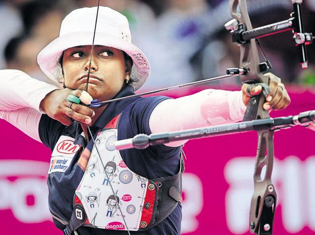 Indian women's archery team,Deepika Kumari,Laxmi Rani Majhi and Laishram Bombayla Devi