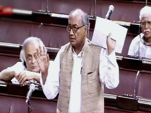 Congress member Digvijay Singh speaks in the Rajya Sabha.