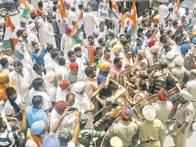 Police had to use tear gas shells, chilly grenades and water cannons to disperse the mob in Ferozepur on Friday.