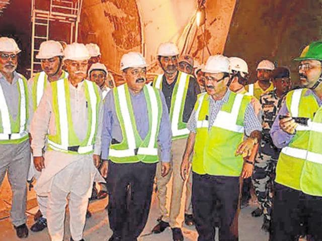Union minister of state for the PMO Dr Jitendra Singh (fourth from left) inspecting work at Chenani-Nashari tunnel on Saturday.