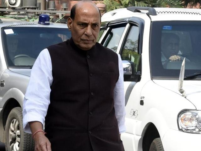 Union home minister Rajnath Singh arrived in Srinagar on a two-day visit on Saturday, sixteen days after the killing of a militant leader sparked large-scale violence in the Valley.