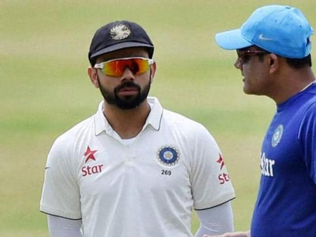 India skipper Virat Kohli with Rohit Sharma (right) during the Nagpur Test against South Africa late last year. Both the West Indies tour and the first part of the home season could be affected by rain.