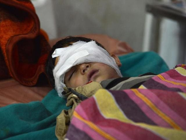 Five-year old Nasir Ahmed Khan recuperating in a hospital in Srinagar after sustaining an eye injury allegedly in security forces action in Anantnag district.