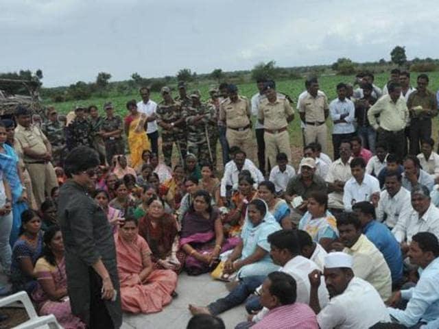 Pune police commissioner Rashmi Shukla talks to the villagers in Kopardi.