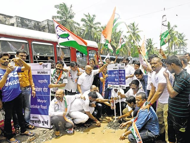 Taking a dig at their political rivals, the NCP named potholes in Bandra (East)after Shiv Sena and BJP leaders, including the mayor on Saturday.