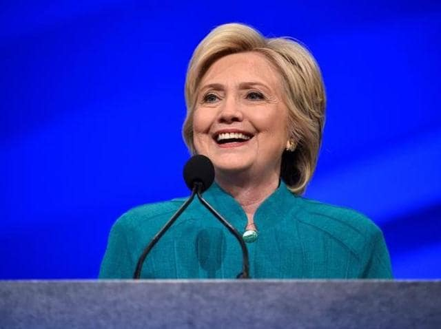US Democratic presidential candidate Hillary Clinton speaks at the American Federation of State, County and Municipal Employees convention in Las Vegas.