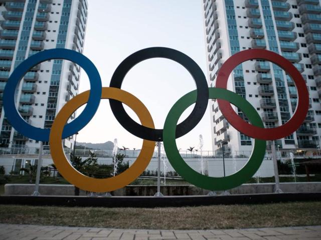 The Olympic symbol is seen inside the Olympic and Paralympic Village for the 2016 Rio Olympic Games.