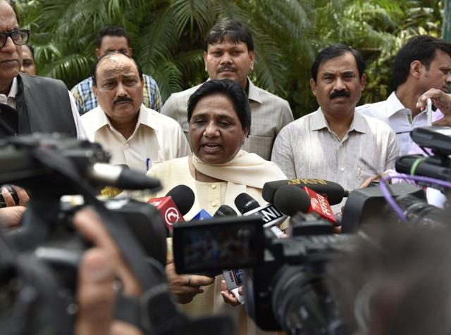 Bahujan Samaj Party chief Mayawati interacts with journalists in New Delhi.