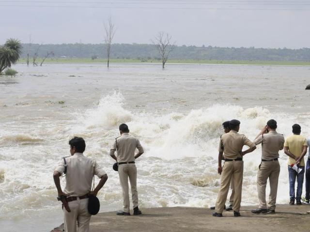 Two sluice gates of Bhadbhada dam were opened on Sunday.