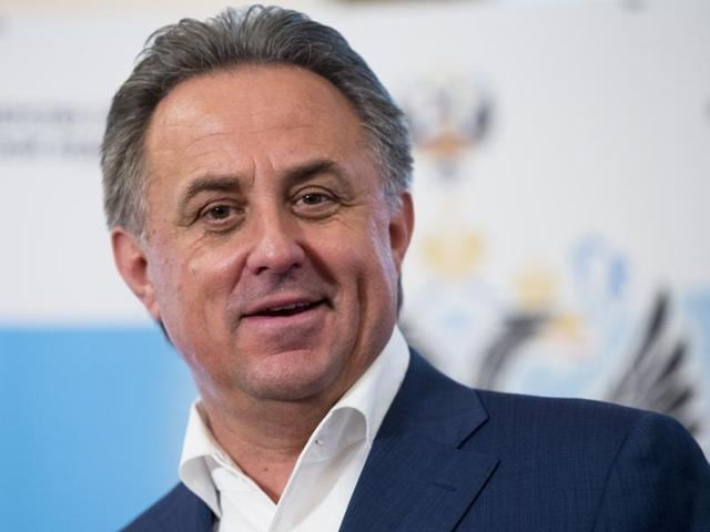Russian Sports Minister Vitaly Mutko speaks to the media in Moscow, Russia.