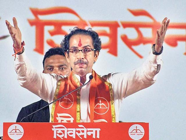 Shiv Sena chief Uddhav Thackeray addresses a party rally in Mumbai.