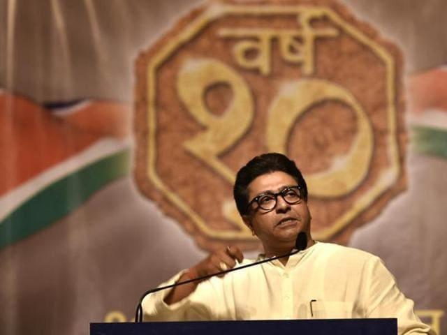 MNS)chief Raj Thackeray adresses an event at Shanmukhananda Hall, Sion in Mumbai.(Satish Bate/HT File Photo)