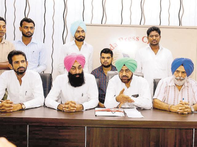 AAP rebels interacting with mediapersons after resigning from the party in Bathinda on Sunday.