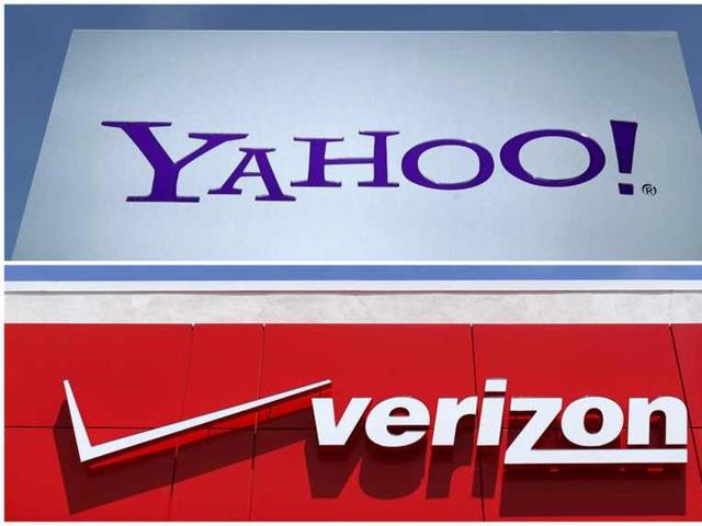 A combination photo shows Yahoo logo in Rolle, Switzerland (top) in 2012 and a Verizon sign at a retail store in San Diego.