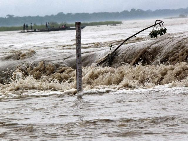 Flood waters near Manas National Park in Baksa district of Assam.