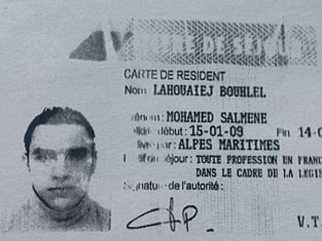 A reproduction of the residence permit of Mohamed Lahouaiej Bouhlel, the man who rammed his truck into a crowd celebrating Bastille Day in Nice on July 14.