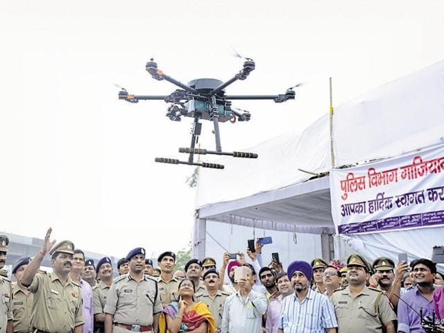 The Ghaziabad police has inducted a hexacopter drone for aerial surveillance of Kanwarias and to manage traffic.