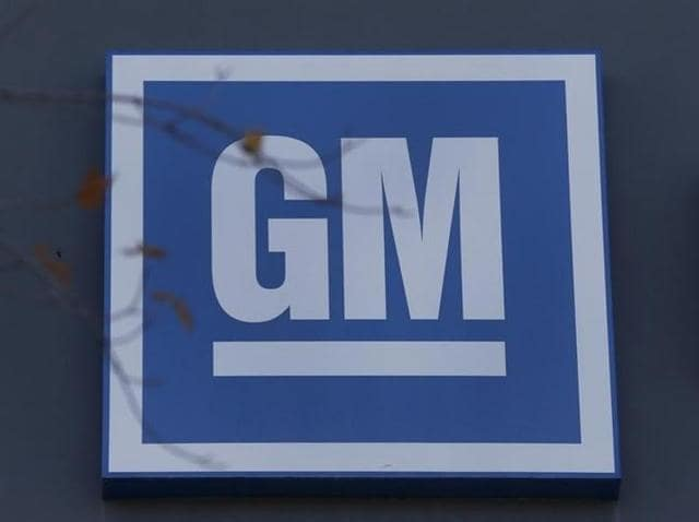 The GM logo is seen at the General Motors Lansing Grand River Assembly Plant in Lansing, Michigan.