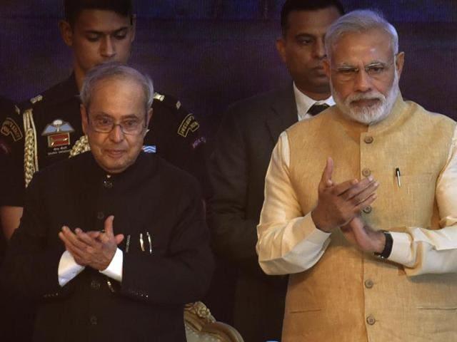 President Pranab Mukherjee and Prime Minister Narendra Modi during the inauguration ceremony of the Rashtrapati Bhavan Museum in New Delhi.