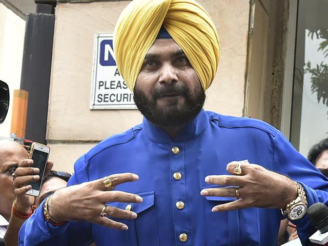 Navjot Singh Sidhu at a press conference for the first time after he resigned from Rajya Sabha, at his residence in New Delhi on Monday.