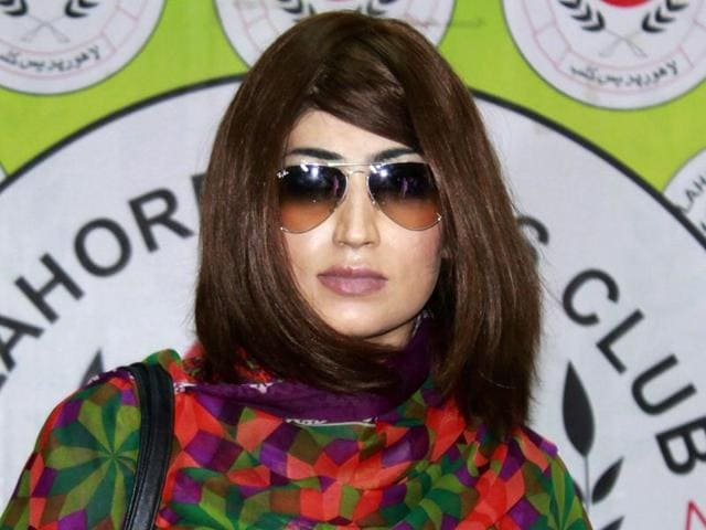 """Pakistani social media celebrity Qandeel Baloch arrives for a press conference in Lahore. She was allegedly killed by her brother for bringing """"dishonour"""" to the family."""