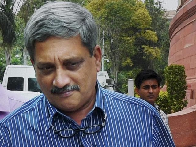 Defence minister Manohar Parrikar at Parliament House during the monsoon session in New Delhi.