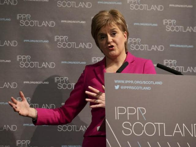 Scotland First Minister Nicola Sturgeon speaks at the Institute for Public Policy Research think tank in Edinburgh on Monday.