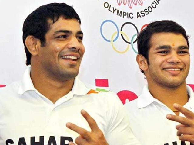 Two-time Olympic medallist Sushil Kumar (L) reacted to the controversy which has jeopardised Narsingh's participation in Rio.(Sunil Saxena/HT File Photo)