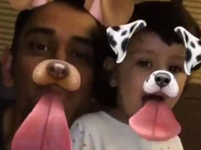 Mahendra Singh Dhoni with his daughter Ziva.